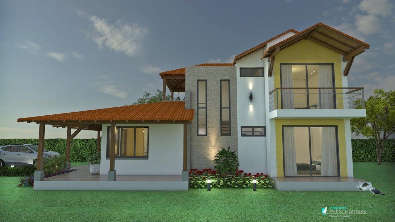 Planos de casa campestre dise o en 2 pisos techo for Cubiertas para casas campestres