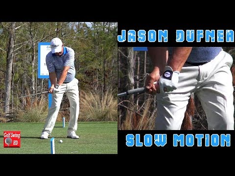 JASON DUFNER - HANDS THRU IMPACT (CLOSE UP SLOW MOTION) FACE ON IRON GOLF SWING 1080 HD