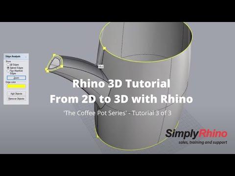 Simply Rhino - Rhino3d Tutorial - Coffee Pot Part 3 - 2D CAD to 3D using Rhino