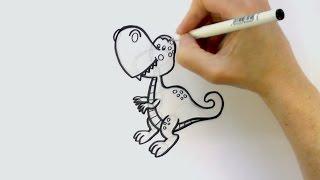 How to Draw a Cartoon Tyrannosaurus Rex - T-Rex - Dinosaur