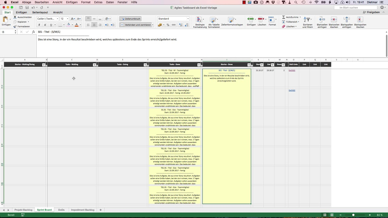 Agile Scrum Taskboard Sprintboard Excel Vorlage Youtube