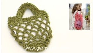 How to crochet the shopping net in DROPS 187-17