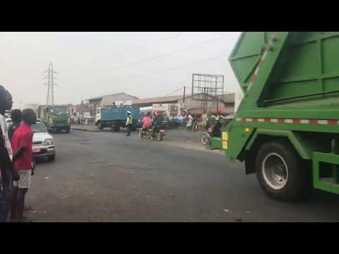 Sierra Leone Freetown China Aid garbage trucks Bai Bureh Road Shell