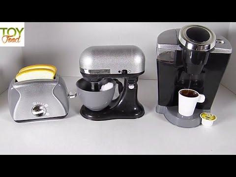TOY COFFEE MAKER, TOASTER, & STAND MIXER, KIDS GOURMET KITCHEN APPLIANCES