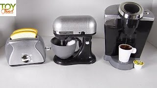 TOY COFFEE MAKER, TOASTER, & STAND MIXER, KIDS GOURMET KITCHEN APPLIANCES