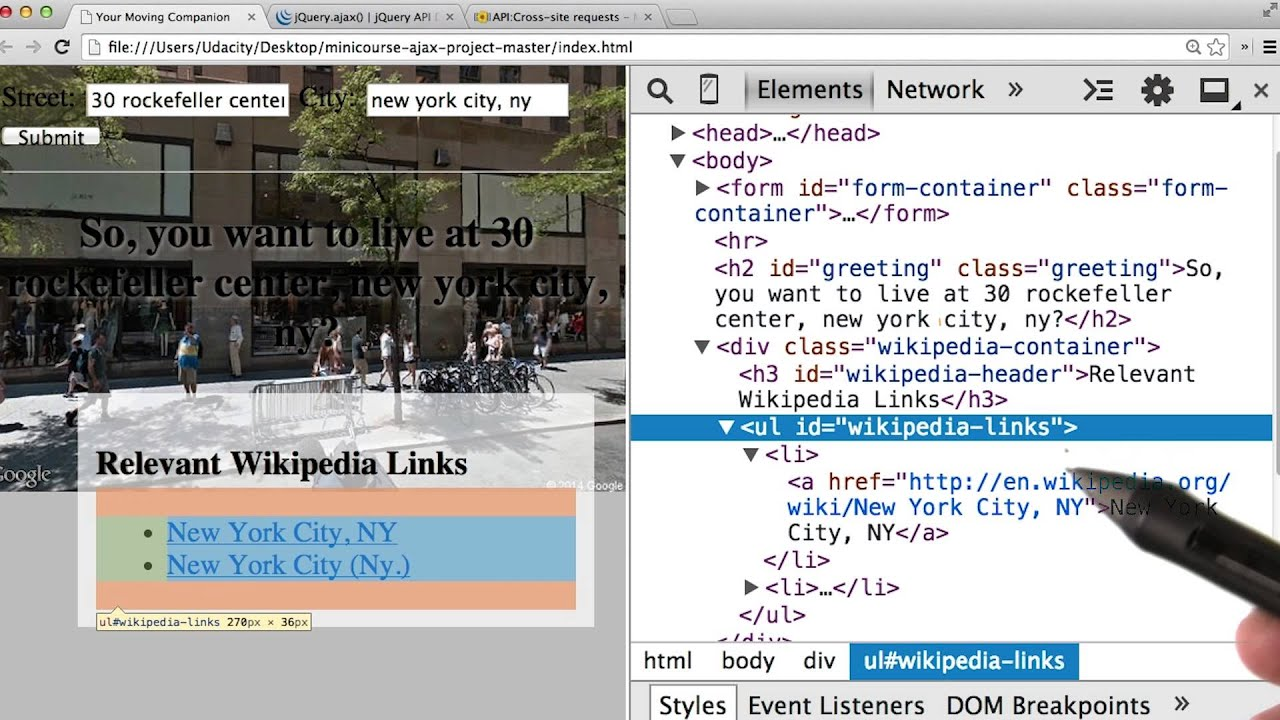 Building a wikipedia viewer using javascript and jquery youtube.