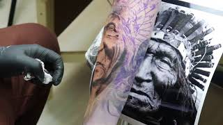 Gambar cover Tattoo timelapse American native , indio americano, tattoo realismo colorido