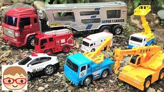 働く車のおもちゃ!キャリアカーが消防車、クレーン車、レッカー車、トラックを積んでいくよ♪のりものあつまれ!20sarasa にーさら