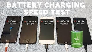 Battery Charging Speed Test - OnePlus 5 Vs Honor 8 Pro Vs iPhone 7 Plus Vs Galaxy S8 Vs Moto Z2 Play