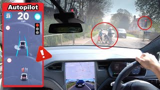 Tesla AutoPilot & Speed Software Update - Will it stop for a red lights, cyclists & pedestrians?