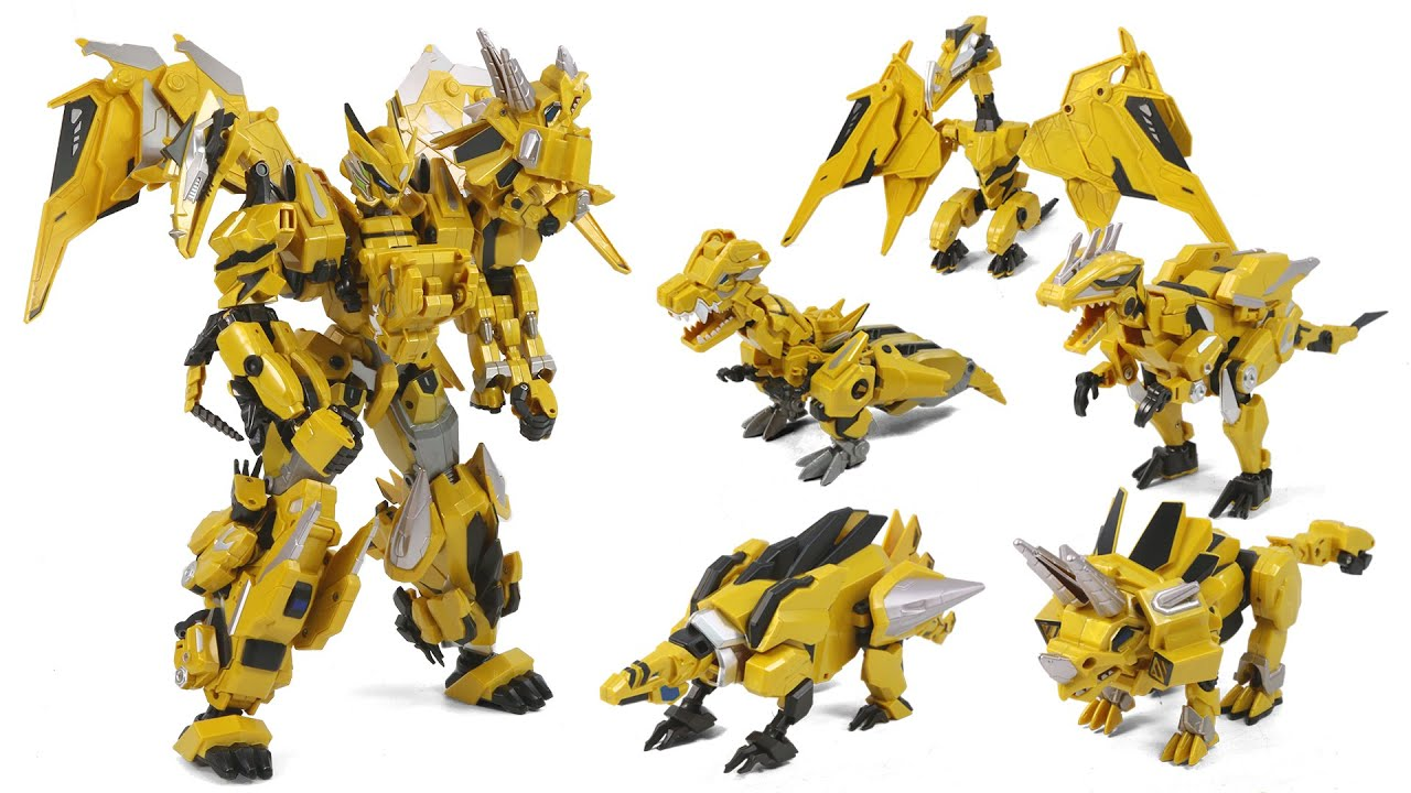 DragonForce2 God Of Gold DragonX Tyranno Steago Ptera Ankylo Raptor Dinosaur RobotToy Transformation