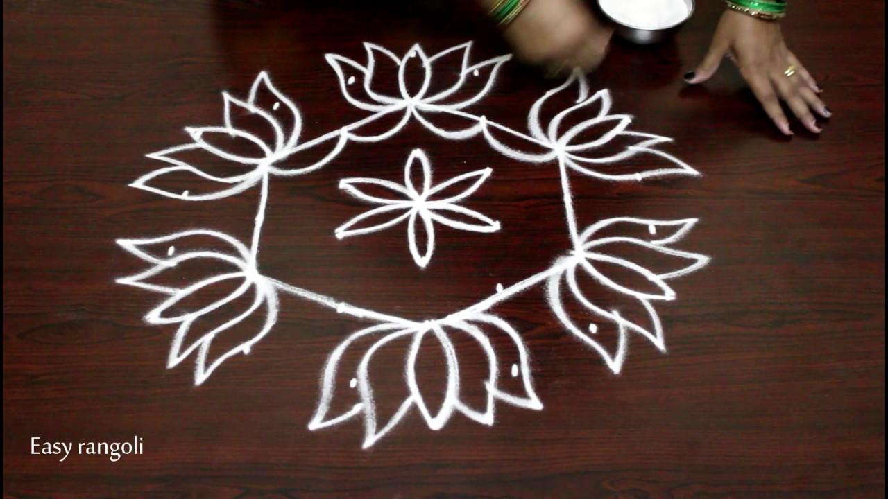Lotus Kolam Designs With 7 To 4 Dots Easy Rangoli Art Designs With