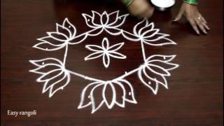 Video lotus kolam designs with 7 to 4 dots- easy rangoli art designs with dots- chukkala muggulu designs download MP3, 3GP, MP4, WEBM, AVI, FLV Oktober 2018