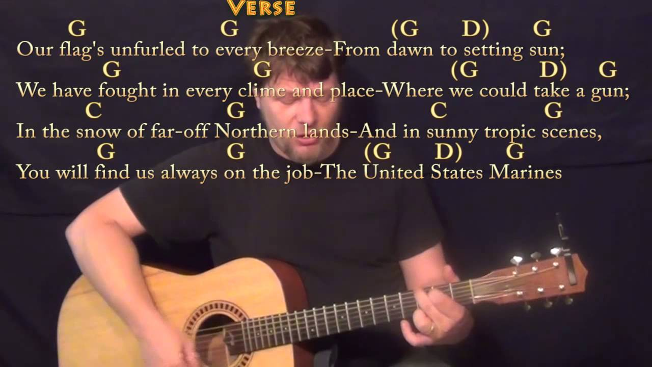 Marines Hymn Strum Guitar Cover Lesson In G With Chordslyrics