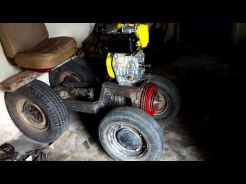 Видеозапись Самодельный минитрактор с дизельного двигателя от мотоблока №1. Лучший минитрактор.