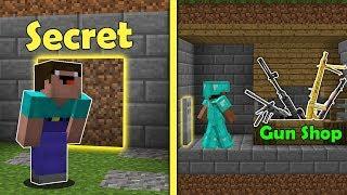 Minecraft NOOB vs PRO : SECRET BASE vs GUN SHOP Challenge! Animation!
