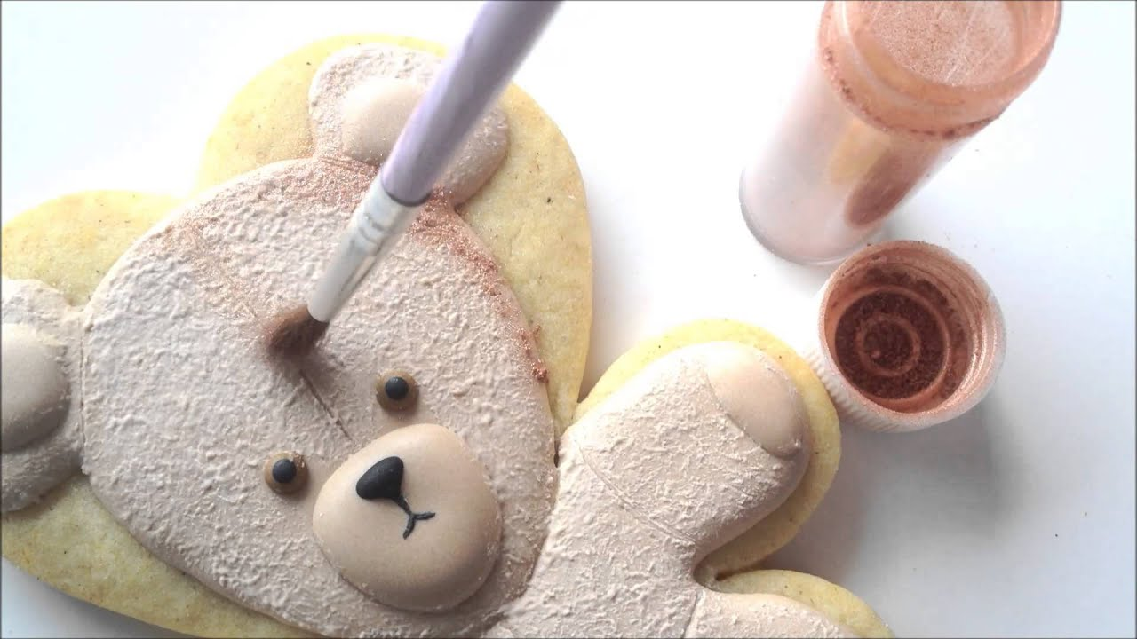 How To Make A Teddy Bear Cookie Using Royal Icing - YouTube