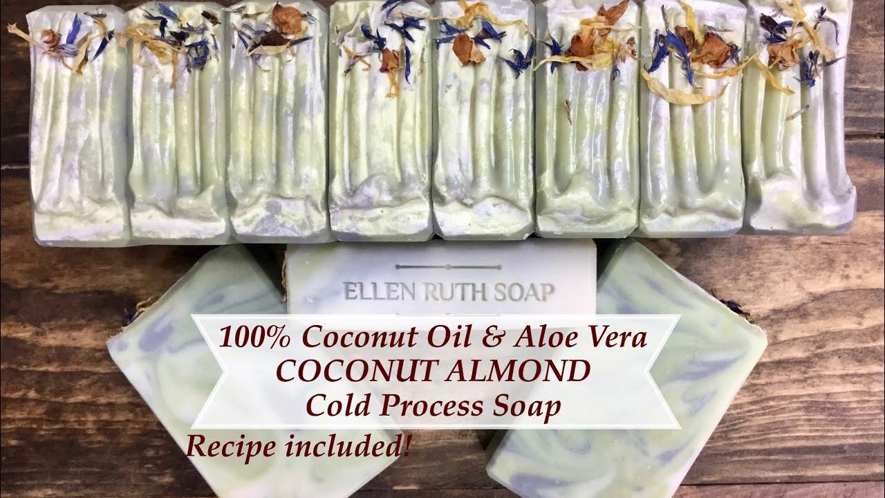 Making 100 Coconut Oil Soap Recipe Included W Aloe Vera Natural Colors Ellen Ruth Soap Youtube