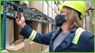 Warehouse use of the 'TagScan' mobile app by ProductionAR