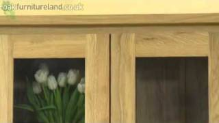 Chaucer Solid Oak Tall Glass Display Cabinet From Oak Furniture Land