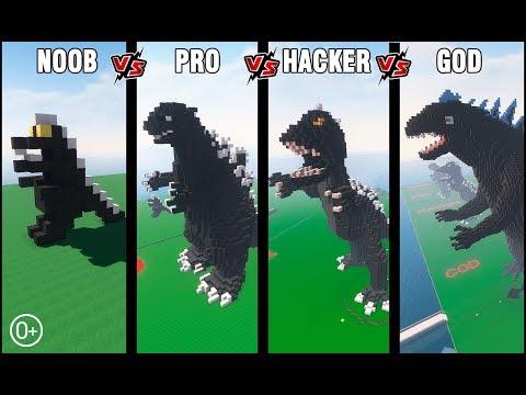 Minecraft Battle: NOOB vs PRO vs HACKER vs GOD: BUILD GODZILLA CHALLENGE in Minecraft 13+
