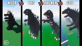 Minecraft Battle: NOOB vs PRO vs HACKER vs GOD: BUILD GODZILLA CHALLENGE in Minecraft