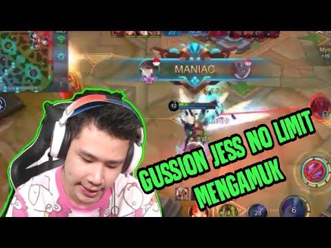GUSION JESS NO LIMIT MANIAC!! MUSUH GAK DIKASIH AMPUN - Mobile Legends