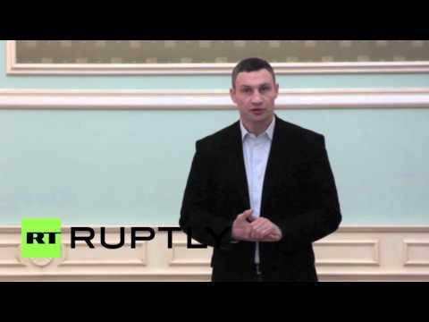 Ukraine: Incumbent Kiev Mayor Klitschko speaks as polls indicate election victory