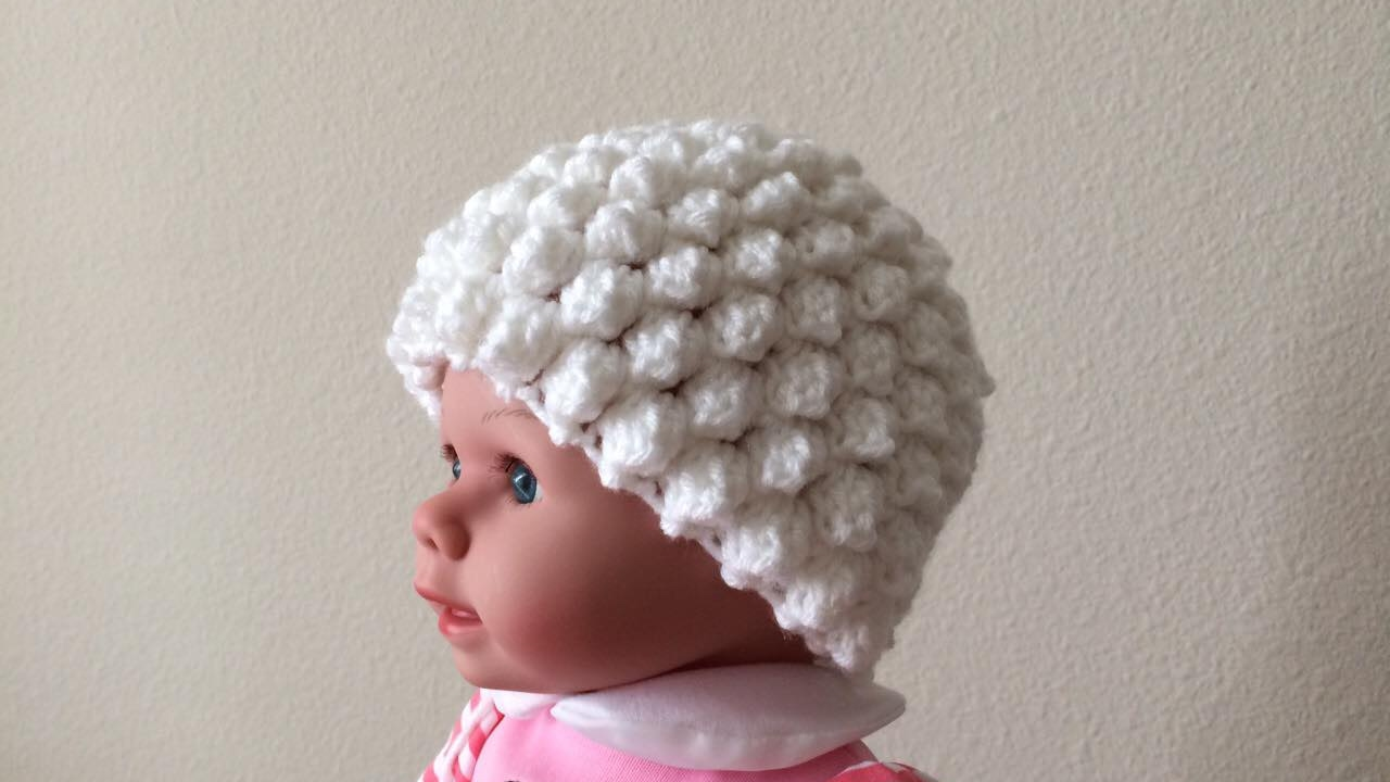 4bcc80ad990 How To Crochet A Popcorn Stitch Hat For A Baby