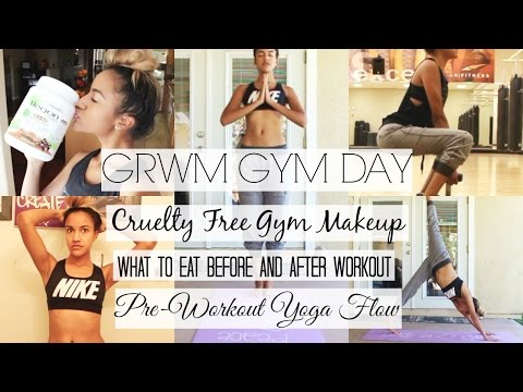 GRWM Gym Makeup, Yoga Flow, Chatty What to Eat for Workout