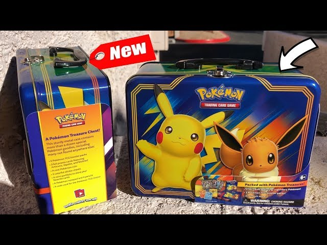 OPENING THE *NEW* POKEMON CARD TREASURE CHEST TIN OF PIKACHU AND EEVEE! *amazing*