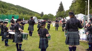 Great young Drum Corps with Howe O' The Mearns Pipe Band at Drumtochty Highland Games 2019