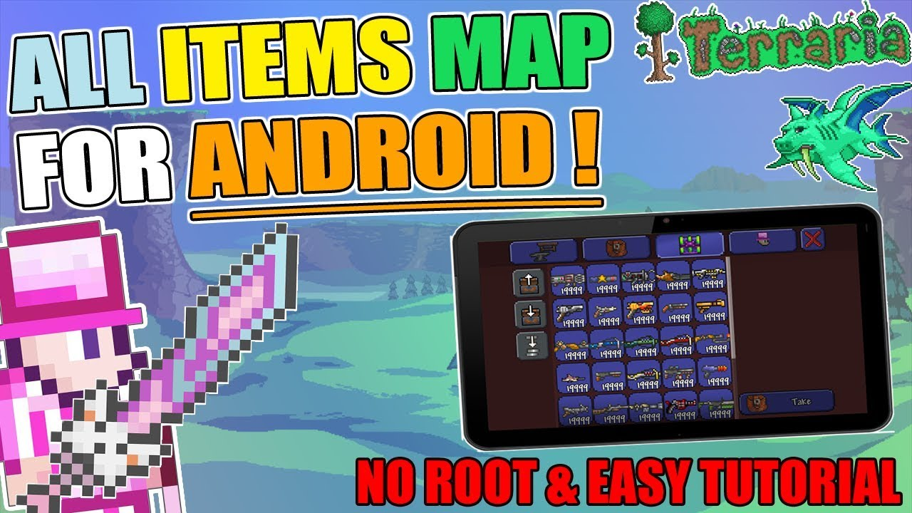 TERRARIA: HOW TO INSTALL ALL ITEMS WORLD FOR ANDROID (NO ROOT) EASY on small terraria map, terraria everything map, doctor who terraria map, terraria castle map,