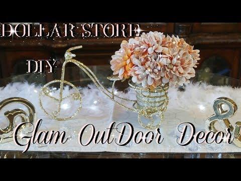 DOLLAR STORE DIY QUICK & EASY BLING OUTDOOR FLOWER CENTERPIECE INEXPENSIVE DECOR IDEA   PETALISBLESS