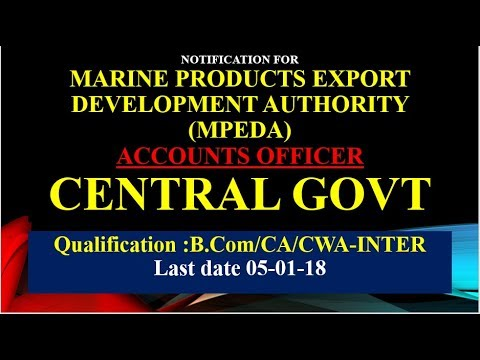 Notification | Accounts Officer | Marine Products export development Authority