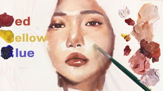 Complete portraits with 3 color _ COLOR mixing practice