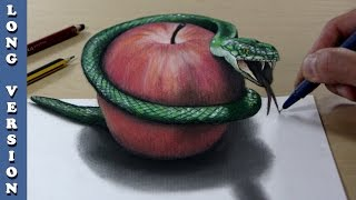 Snake and apple, 3D Trick Art on Paper, Long version