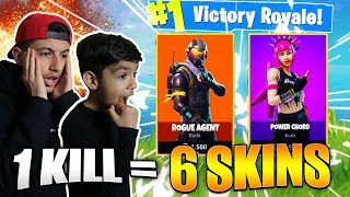 1 Kill = 6 Free Skins For My 10 Year Old Little Brother! Fortnite Skins Challenge!