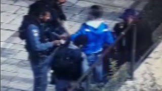 Footage of stabbing attack at Damascus Gate in Jerusalem, October 10, 2015.