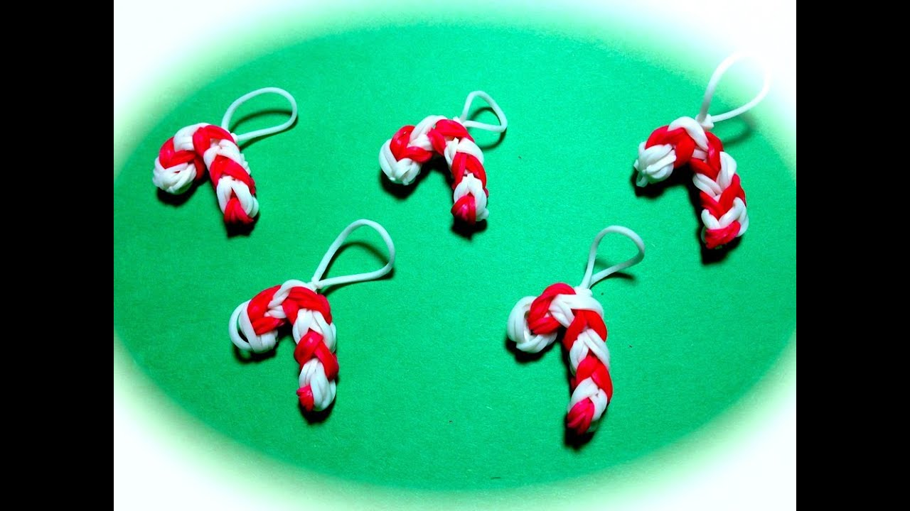 Rainbow Loom Band Candy Cane Charm For Christmas Youtube