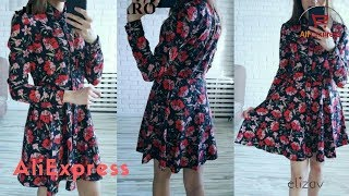 Dress From AliExpress. New Arrival Women Big Floral Shirt Dress Elegant Pleated Design Sweet.
