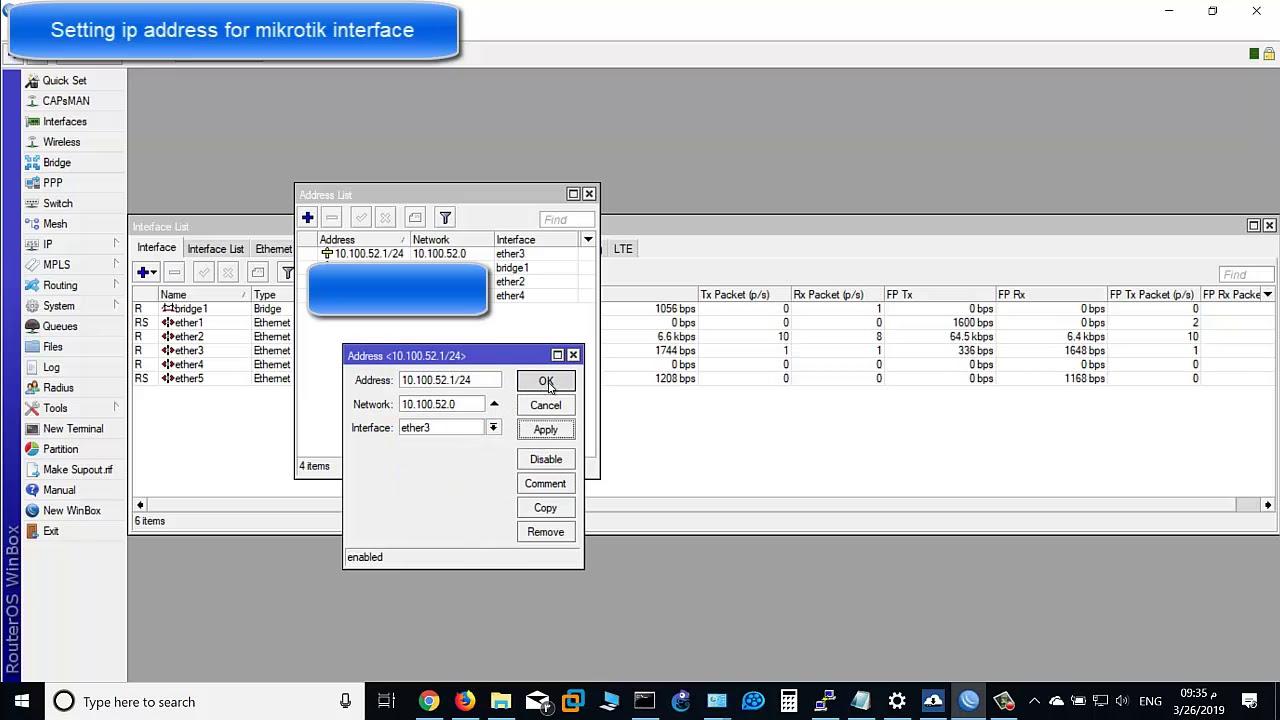 Assign ip address mikrotik router interface