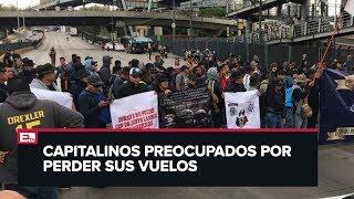 Caos vial en las inmediaciones del AICM por manifestación de policías federales