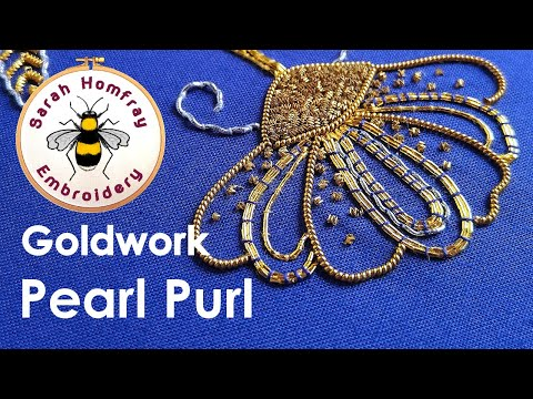 Hand Embroidery - Goldwork tutorial. Part 2 - Applying Pearl Purl