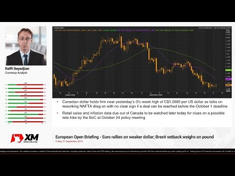 Forex News: 21/09/2018 - Euro rallies on weaker dollar; Brexit setback weighs on pound
