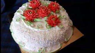 Украшение торта кремом БЗК Мастер класс по ХРИЗАНТЕМЕ Кремовые цветы Cake decoration