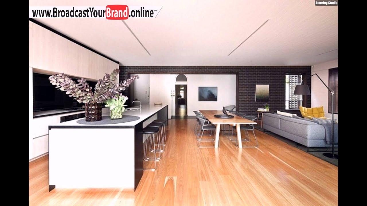 Wohnzimmer Kche Esszimmer In Einem Offen Holzboden  YouTube