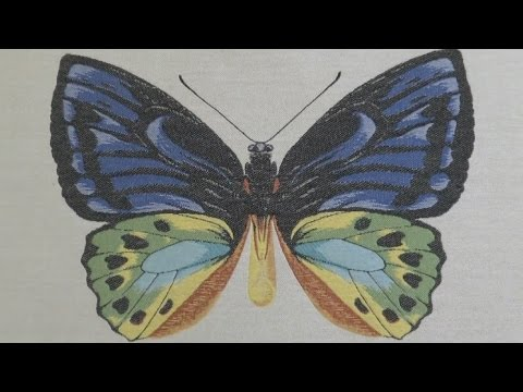 the making of the butterfly motif from square by design woven fabric
