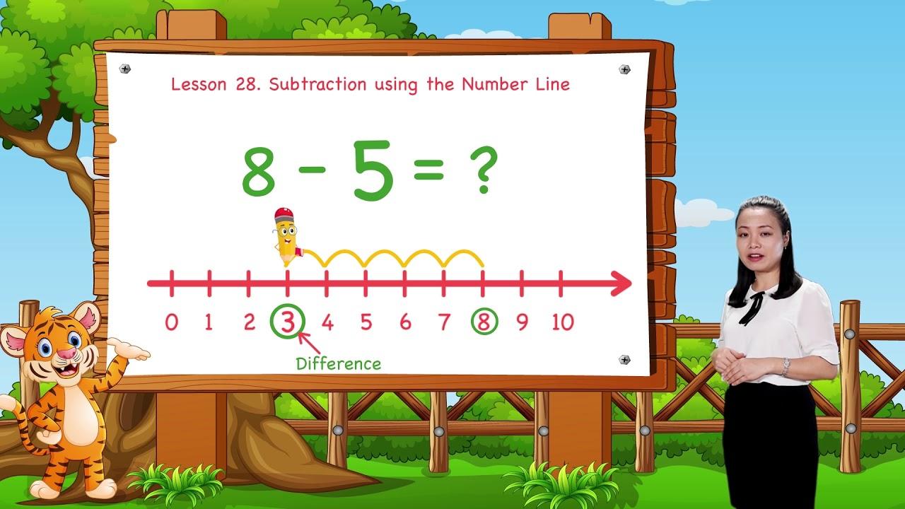 medium resolution of Math For Kids   Lesson 28. Subtraction Using the Number Line   Kindergarten    Grade K - YouTube