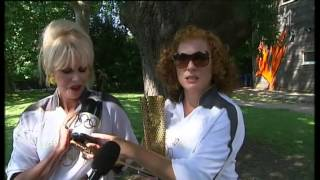 Eddie and Patsy give an Absolutely Fabulous interview to Channel 4 News